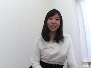 An Mizuki striped exposing her natural tits and sucks a everlasting cock