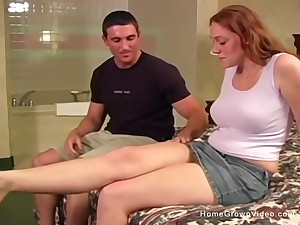 Super cute around fat natural tits has her bald-headed pussy penetrated deep in a hotel bed!