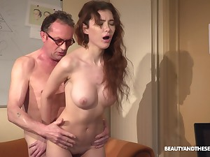 Young beauyt Gisha Forza drops her clothes for sex concerning and older guy