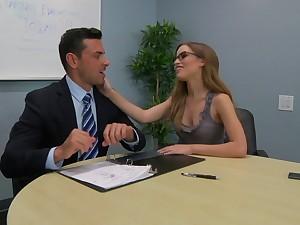 Gossip columnist Natasha White with glasses sucks a dick in POV and rides him