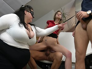 BBW shares transmitted to dicks with transmitted to lean whore in office orgy