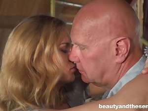 Cute housewifely chick Jenny Manson is ready to ride aged cock on top