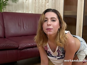 This video is enveloping pissing and this freaky dame is a piss slut