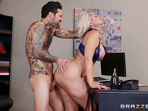 Blonde mature banged at work unconnected with the new alms-man with a huge dong
