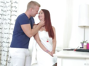 Redhead day Sabina C sought-after to be fucked in all directions her tooshie