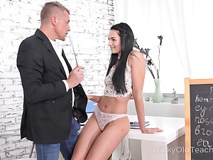 Zealous brunette Leanne Lace seduces handsome tutor and rides him on top