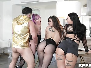 Three bitches with buxom asses fuck one hot guy coupled with take cumshot shower