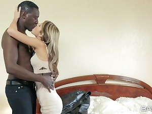 Young Russian fox Gina Gerson takes on a hung dusky lover