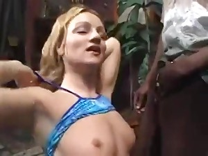 Blonde Newborn Takes A Black And Vapid Cocks At The Same Time