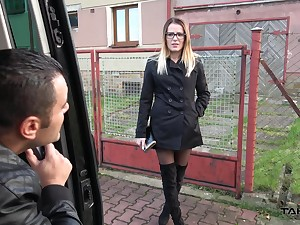 Remarkable Samantha with glasses white-haired up with the addition of fucked by a fat dick