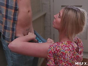 Sex-crazy milf in red lingerie Lexi Lowe bangs young gardener