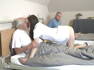 Young heedfulness Nana Garnet is sucking constant dicks of two pensioners