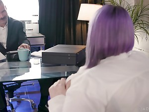 Busty doll likes the dick of her boss in her chubby ass