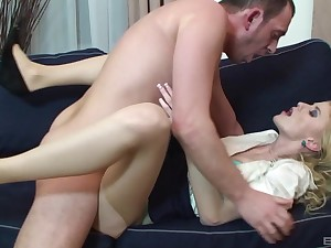Blonde woman leaves their way boss to be thrilled by their way in the ass