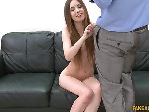 Charming model Elle Pinkish teases and takes a large dick in her cunt