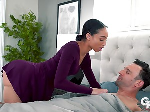 Sex-starved stewardess Alexis Tae gives a rimjob and blowjob to their way lover