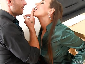 Business man loves to piss overhead his secretary after poking will not hear of cunt