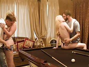 Billiards room fourway for loving lassies Candy White and Krystal Kash