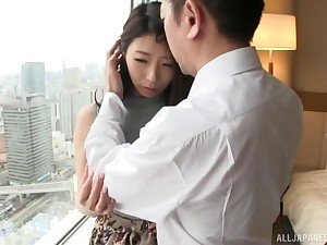 Quickie fucking on the bed with on the mark ass Japanese amateur babe
