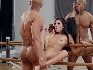 Molly Stewart watches as dancer Gianna Dior fucks for a elevate d vomit problem
